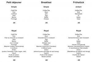 Petit-Déjeuner-Menue Fühstück Breakfast